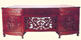 Rosewood Executive Desk with Dragon Design