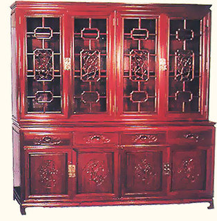 Rosewood China Cabinet with Top Bird design