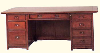 """31"""" high Stately and sturdy solid rosewood Oriental executive desk"""