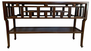 Carved Oriental Sofa Table With Shelf