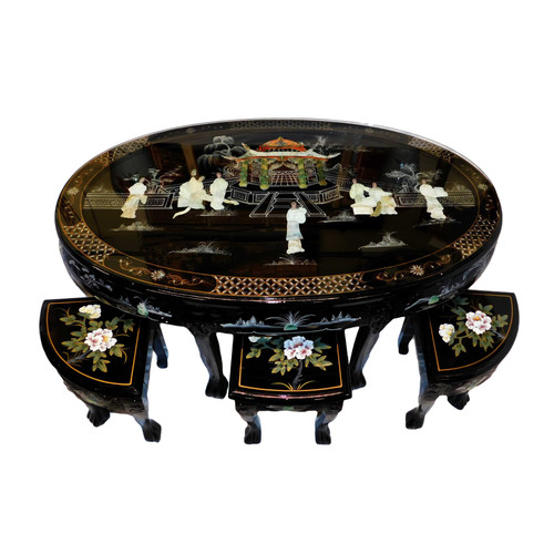 48  inch Oriental Tea table, inlaid pearl, six stools & glass top at import direct pricing.