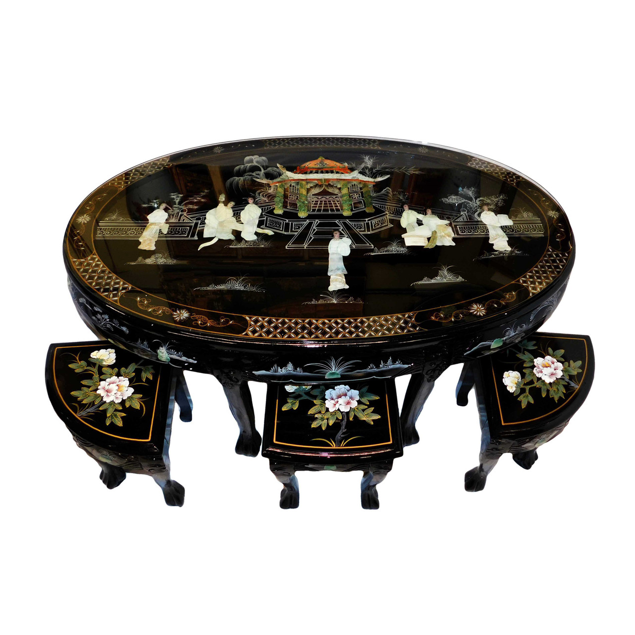 Oriental Coffee Table In Black Lacquer With Inlaid Mother Of Pearl With Six Stools Oriental Furnishings Furniture Decor