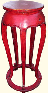 40  inches  high. Antique red lacquer Asian plant stand made of solid Elmwood and hand carved.