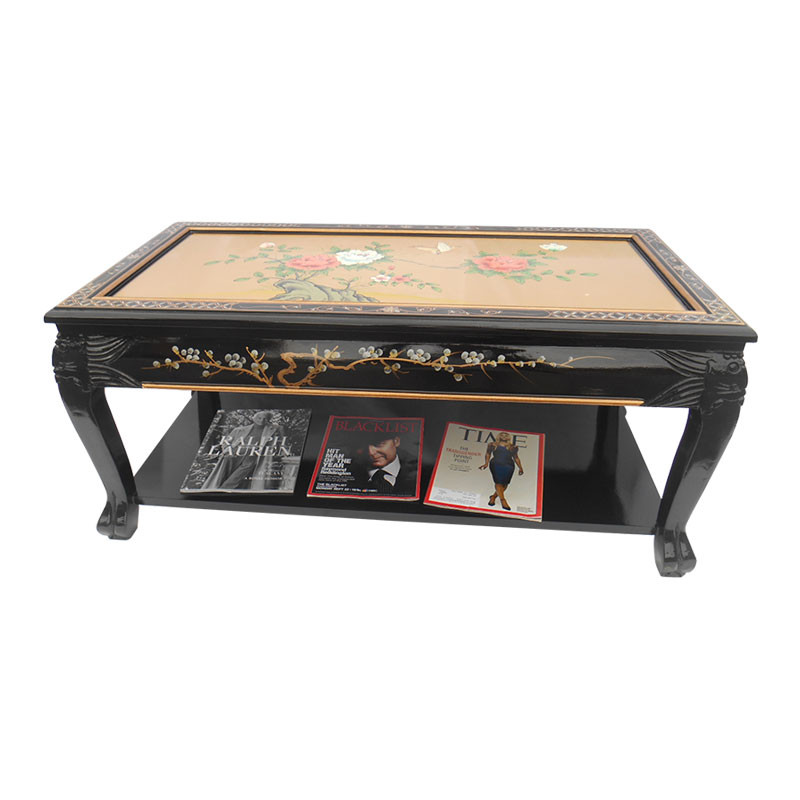 Oriental Coffee Table Black Lacquer Inlaid Mother Of Pearl