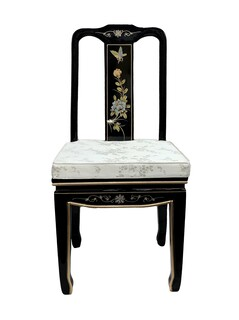 Oriental Black Lacquer Side Chair with Mother of Pearl Lady Inlays and Silk Cushion.