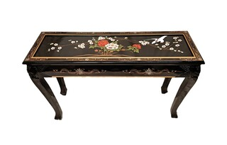 44 inch long Asian ball and claw occasional table with glass top