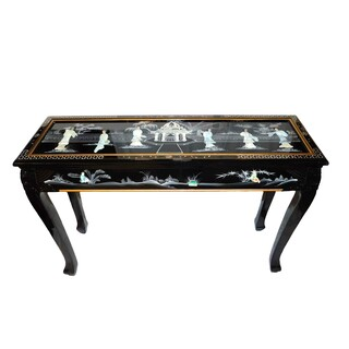 Asian ball and claw occasional table with glass top