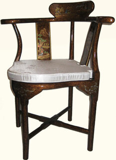 Asian style corner chair with removable silk cushion