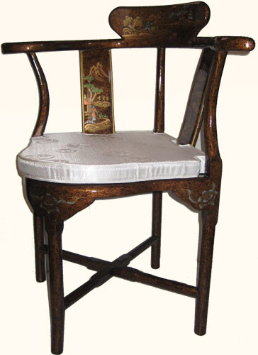 Bon Asian Style Corner Chair With Removable Silk Cushion