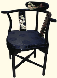 Oriental corner chair hand painted landscape art with silk cushion at import direct pricing.