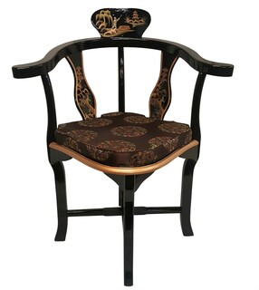 Black Oriental Corner Chair Hand Painted Landscape