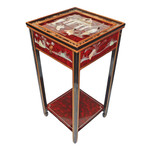 """29 """"high Oriental Stand with drawer, shelf, and glass top at import direct pricing."""