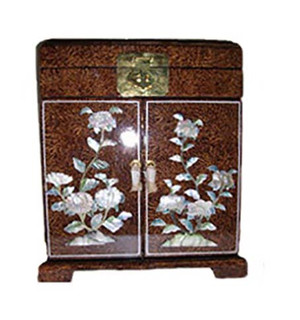 Tall French Brown With Inlaid Mother of Pearl Oriental Jewelry Box