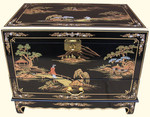 End table sized Oriental trunk. Hand painted landscape Art with drawer at import direct pricing.