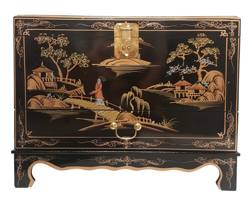 """27"""" Wide Oriental trunk in black lacquer with Hand painted landscape"""