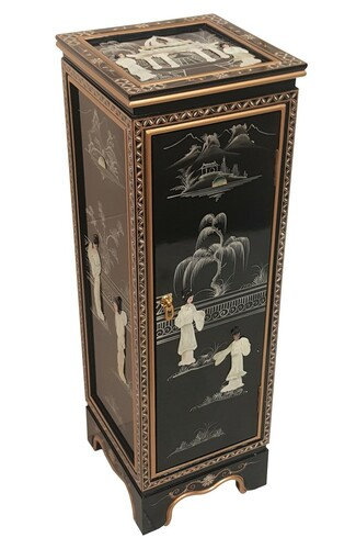 Our 36  inches high.Oriental Pedestal with door, shelf & glass, Pearl inlaid, shiny black lacquer. Import direct