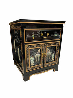 Oriental Mahogany End Table with Mother of Pearl Inlay