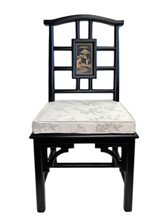 Carved Oriental Chair Hand Painted Oriental Landscape