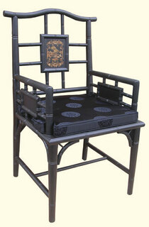 Chippendale Oriental arm chair with Japanese Landscape art, silk cushion at import direct pricing