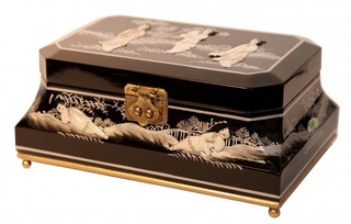 Lacquer & Inlaid Silk Oriental Jewelry Box