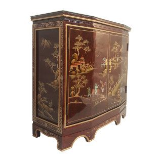 "32"" W. Tortoise Shell Red Oriental Cabinet with Two Doors, Shelf, Glass top and Hand Painted Landscape"
