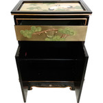 Gold Leaf Shoe Cabinet Hand Painted Cranes