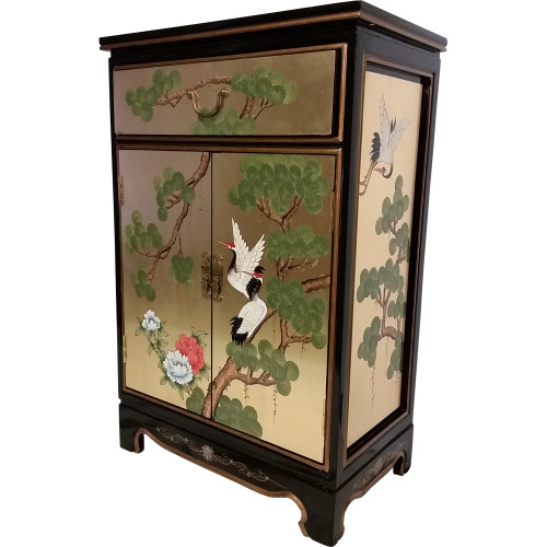Oriental gold leaf cabinet hand painted asian cranes 36 39 39 h for Hand painted oriental furniture
