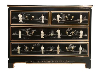 Shiny Black & Pearl Inlaid Oriental Dresser With 4 Drawers.