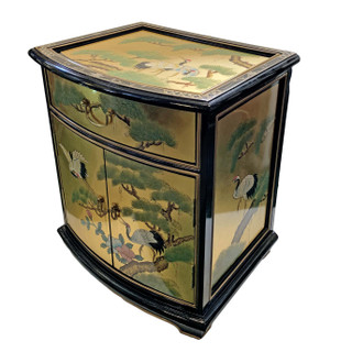 Oriental End Table Painted Cranes And Gold Leaf.