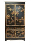Chinese Entertainment Center in Antique Black Lacquer