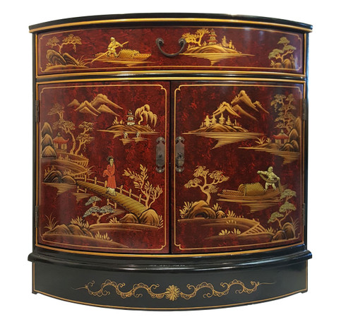 Asian Corner Cabinet With Oriental Hand Painted Landscape