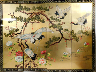 Chinese wall plaques hand painted cranes and pine tree design on rich gold leaf background