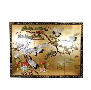 Chinese Wall Hanging Hand Painted Cranes And Pine Tree