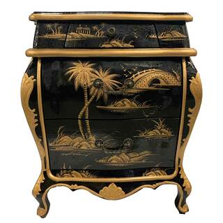 Oriental Bombe Cabinet Hand Painted Antique Black and Gold Landscape