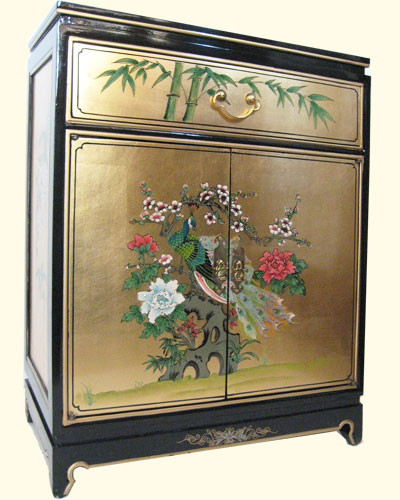 30 Inches High Oriental Cabinet In A Rich Gold Leaf And Hand Painted  Floral. Import