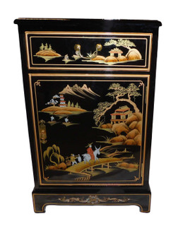 32  inches  high.Oriental end table in black lacquer and hand painted w glass top, felt lined drawer at Import d