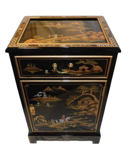Black Lacquer Oriental End Table With Landscape Painting