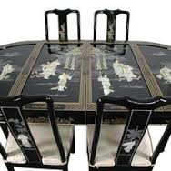 Asian Black Lacquer Dining Table