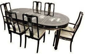 Captivating Asian Black Lacquer Dining Table
