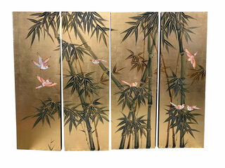Modern Chinese Wall Hanging Hand Painted Bamboo On Gold Leaf