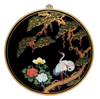 Round Oriental Wall Panel Hand Painted In Cranes Design