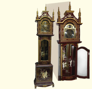 90  inches  high.Chinese Grandfather Clock in French red, inlaid pearl, beveled glass, German works..