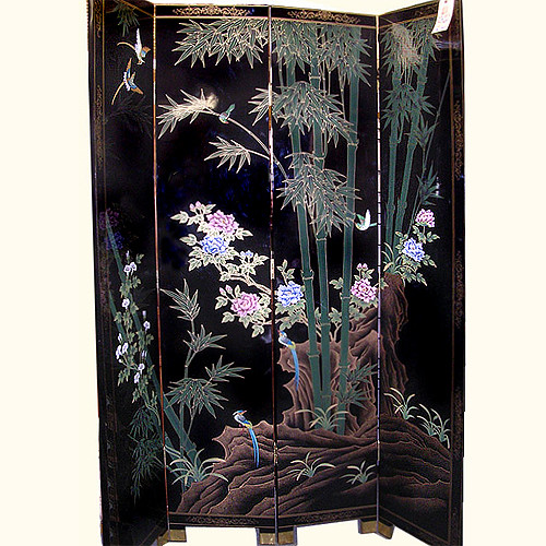 Lacquer Floor Screen Hand Painted Oriental Style 84 Quot H