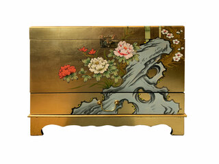 Oriental Trunk Hand Painted Gold Leaf With One Drawer And Inside Shelf