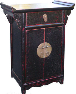 21  inch H. Antique Black lacquer Oriental Cabinet with drawer and two doors. Solid Elmwood & Big brass.