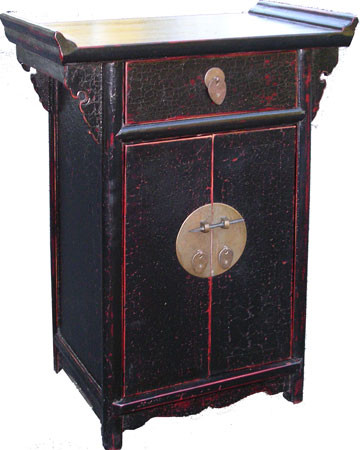 Chinese Cabinet Black Lacquer With Wing Top And Brass