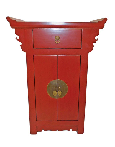 21  inch H. Antique red lacquer Oriental Cabinet with drawer and two doors. Solid Emwood and Big iron .