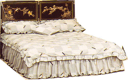 Queen Oriental headboard hand painted floral Art and brass accents at import direct pricing.