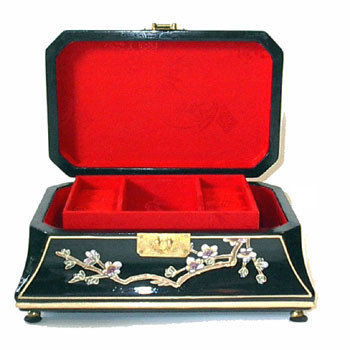 12 inch Black rectangular jewelry box with red silk interior hand painted Floral at Import direct pr