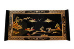 42  inch wide Oriental coffee table with wing top , Shiny Black finish and Rich gold art.